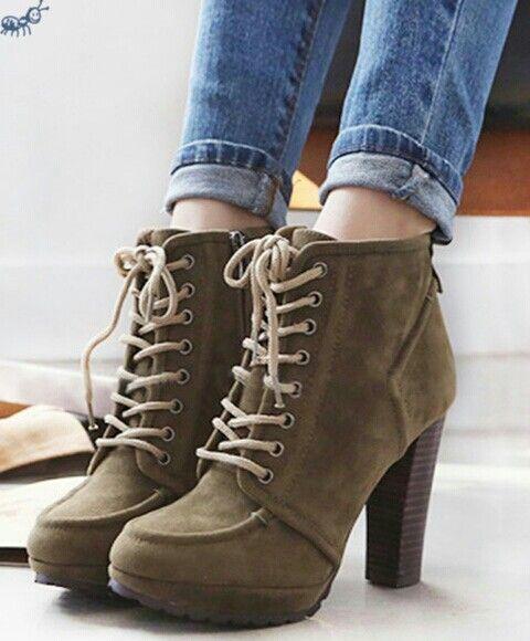 Sapatos castanhos olive green platform chunky heel ankle boots