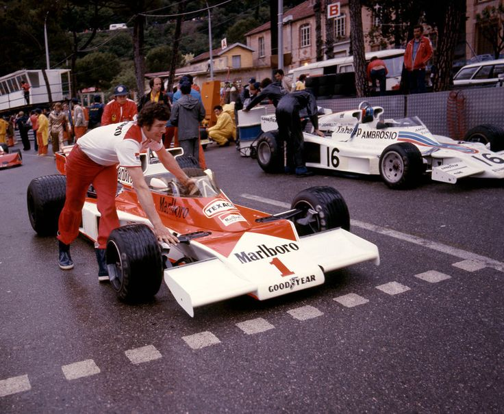 (James Hunt's) McLaren M23 - Ford-Cosworth DFV 2,993 cc (182.6 cu in) 90° V8, naturally aspirated, mid-mounted.James retired from the race in lap 25.On the right, with number 16, is Riccardo Patrese's Shadow DN6.1977 Monaco Grand Prix, Circuit de Monaco