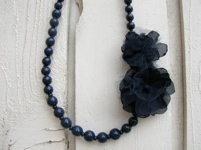 Upcycled necklace w/tulle flowers