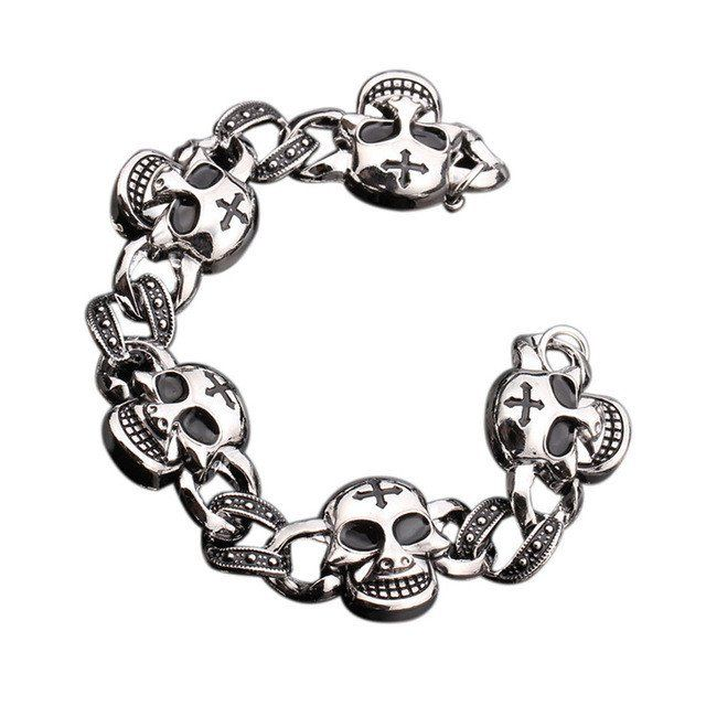 Stainless Steel Bracelet With Wolf / Leopard / Skull / Anchor