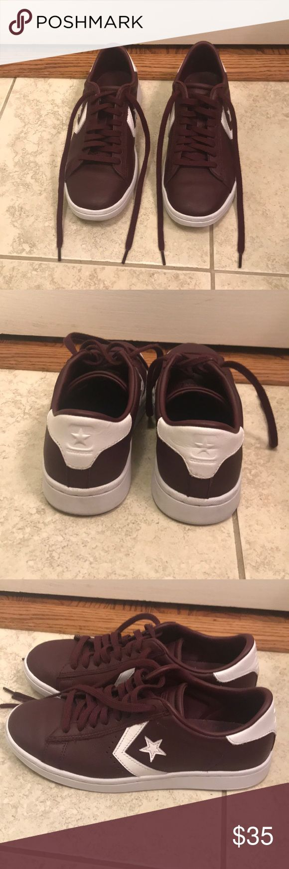 """Converse Pro Leather Low Profile Low Top Size 5.5 Women's low top leather Converse size 5.5 in """"Sangria"""". Worn once, in great condition. Slight scuff on the back of the right heel, see picture. Converse Shoes"""