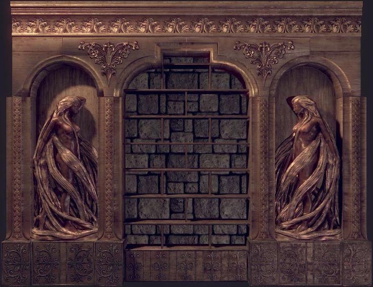 Medieval Hall library Statue, Julien Reliat on ArtStation at https://www.artstation.com/artwork/8agE