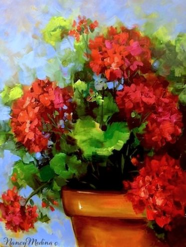 Summer Rain Red Geraniums by Floral Artist Nancy Medina, painting by artist Nancy Medina