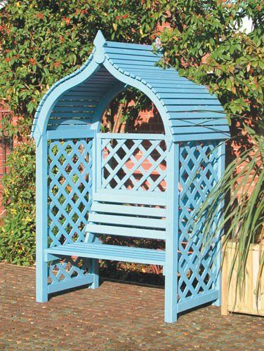 Rowlinson Jaipur Arbour: An Attractive Wooden Garden Seat With A Curved  Roof And Lattice Panels To The Side And Back.