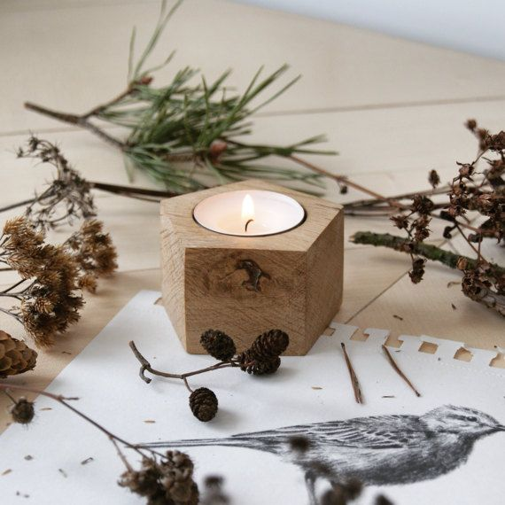 English oak modern geometric wooden candle holder, tealight holder  by @kcrm_crafts  >https://www.etsy.com/shop/KCRMcrafts<