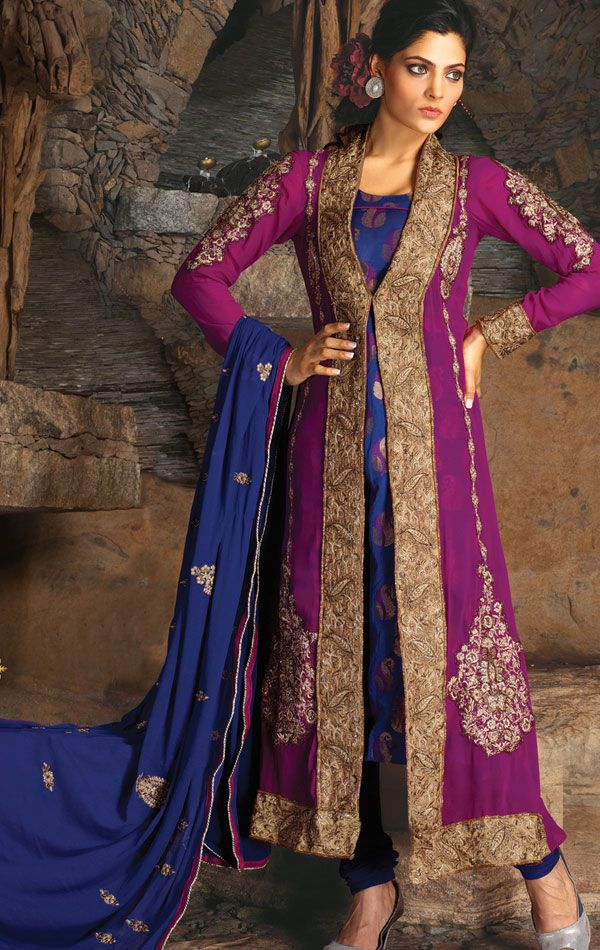 Marvelous Magenta and Navy Blue Designer Churidar Kameez Set (VIVJIL6515A) - OnlineDesignerSto...