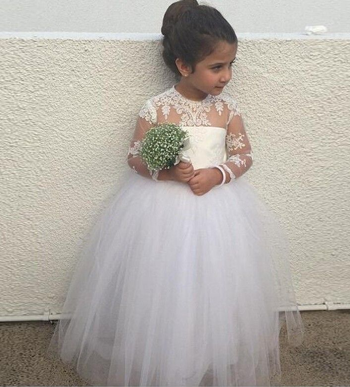 Puffy Girl's Pageant Dresses For Toddlers,Long Junior Bridesmaid,Lace Appliques Flower Girl Dresses With Sleeves