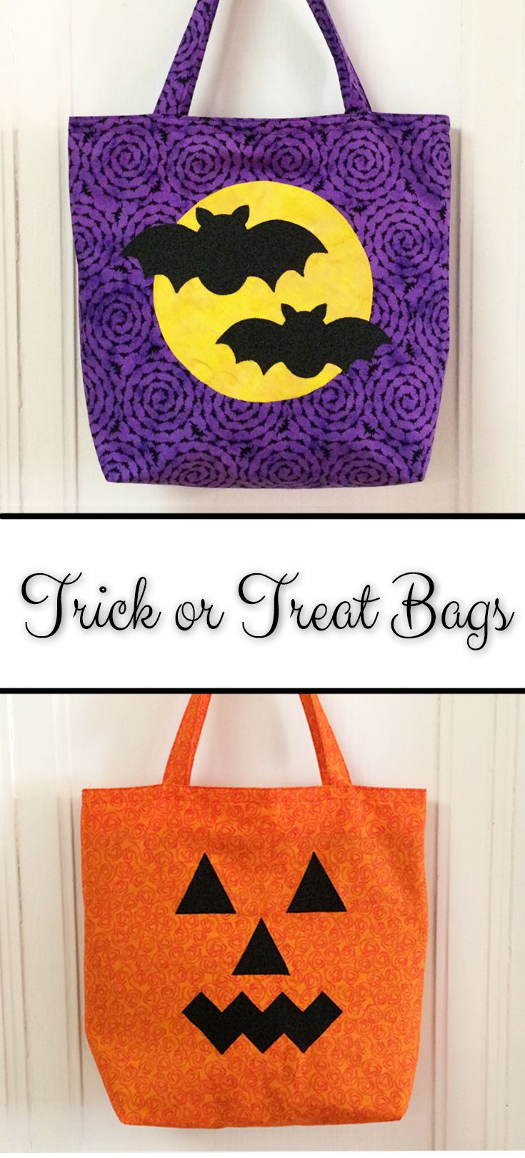 Free tutorial and templates for easy trick or treat tote bags with contrasting lining.