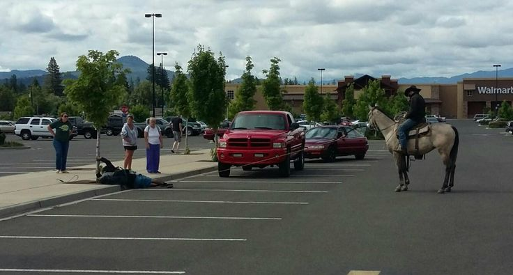 A Cowboy Jumps on His Horse and Lassos Suspected Bike Thief in a Walmart Parking Lot