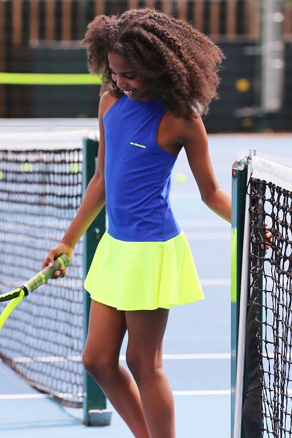 Tennis Dress Daria Racerback Neon For Girls Girls Tennis Etsy In 2020 Girl Tennis Outfit Tennis Dress Girl Outfits