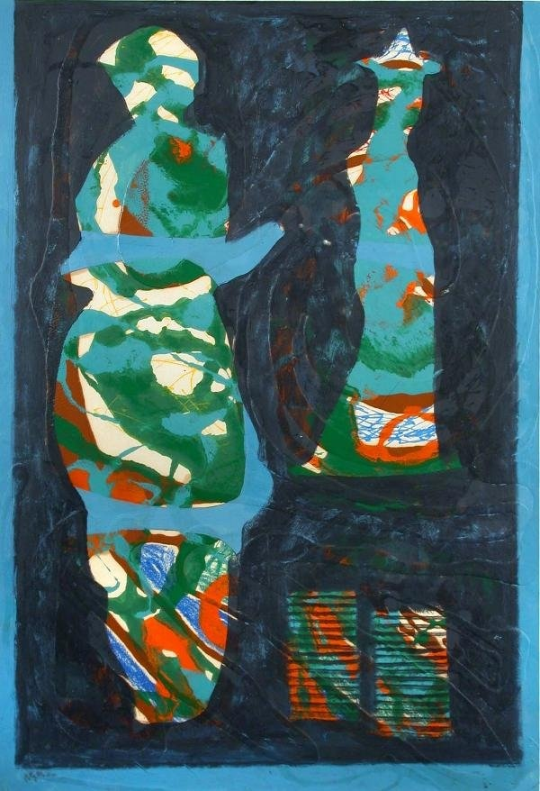Eileen Agar Study In Blue And Green Mixed Media : Lot 401
