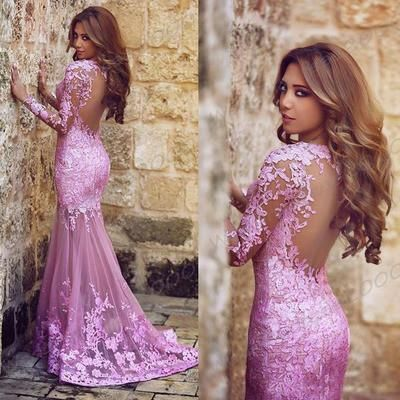 Lilac Lace Appliqued Long Sleeve Mermaid Prom Dress Open Back Sexy Sweep Trian Formal Dress
