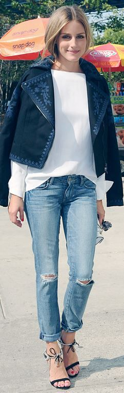 Who made Olivia Palermos blue print jacket and black crystal sandals?