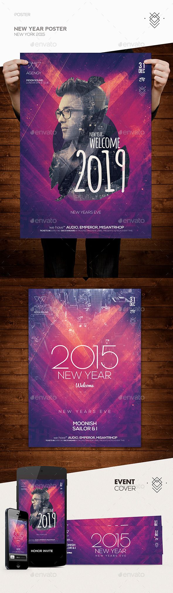 New Year Poster Flyer Template PSD #design #nye Download: http://graphicriver.net/item/new-year-poster-flyer/9834160?ref=ksioks