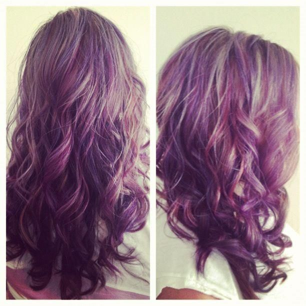 Light Brown Hair With Purple Underneath | Light Brown And ...