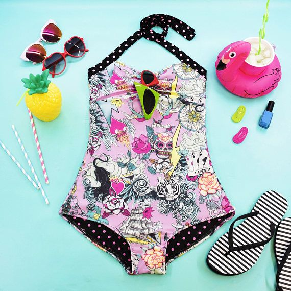 One Piece Swimsuit Pink Tattoo Print Pink Polka Dot Plus Size