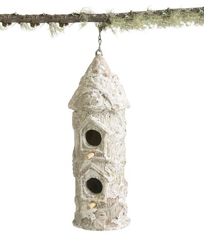 Birdhouse Tall w/Bark - Finished with a soft, rustic variation on faux bois, the Tall Birdhouse with Bark brings an attractive look of age to your garden while still serving as a sturdy home for avian visitors.  This column-shaped double birdhouse hangs from a chain at the peak of its conical roof, lastingly secured to the terra cotta body of this charming transitional garden artifact.  Try it in a sunroom to bring the outdoors in.