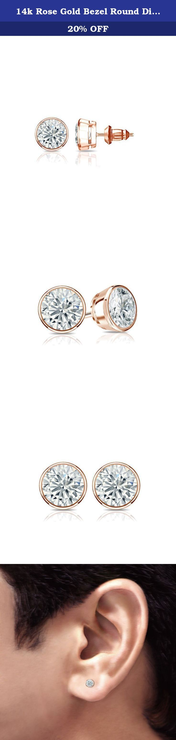 14k Rose Gold Bezel Round Diamond Men's Stud Earrings (1/2 ct, White, I1-I2). These gorgeous diamond stud earrings for men features bezel setting in glistening 14k rose gold metal. The studs include dazzling round-cut diamonds with total weight of 1/2 ct. and are available with secure lock back clasps.