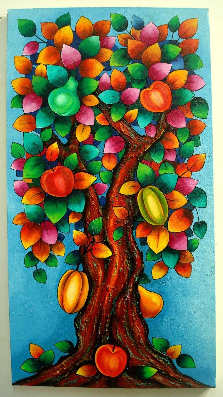 Pintura de arboles en acrilico buscar con google - Pintura acrilica pared ...