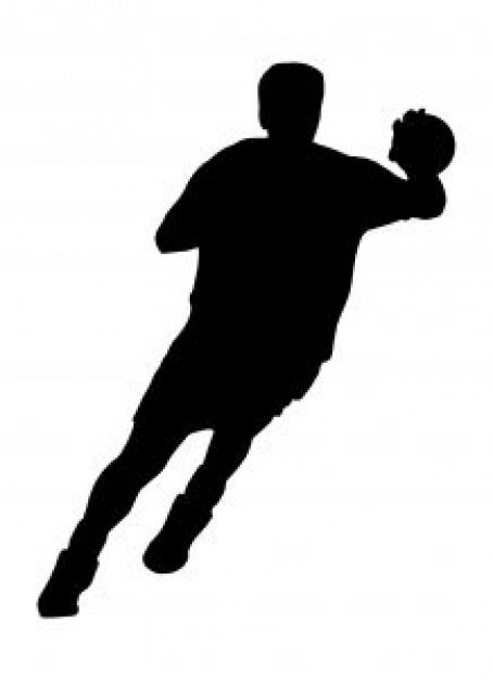 silhouette of handball player