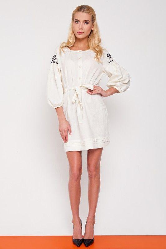 Платье льняное белое