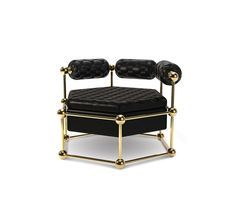 As one of our most bold sofas, Ludwig can be considered a corner piece, due to its hexagonal structure made of polished brass. It has three separated rolled arms, upholstered with a deep tufted leather: something that gives it a classic and luxurious look at the same time. Perfect for a moody interior or a chic lounge bar in the most fancy New York neighborhoods.