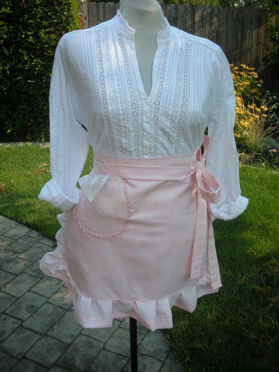 Pink Apron - Pretty in Pink Apron - Blush of Pink Apron - Handmade Pink Half Apron - Annies Attic Aprons - AnniesAttic Aprons