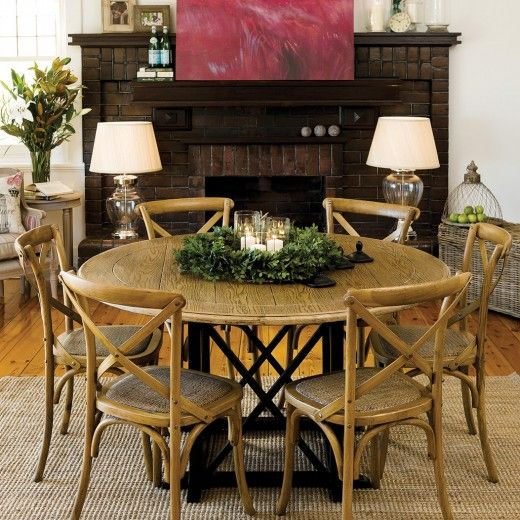Provincial Oak Round Table Black with 6 Cross Back Chairs Black Package