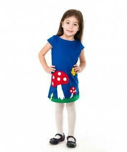 Mushroom applique girls dress, handmade clothing, kids unique and beautiful outfits