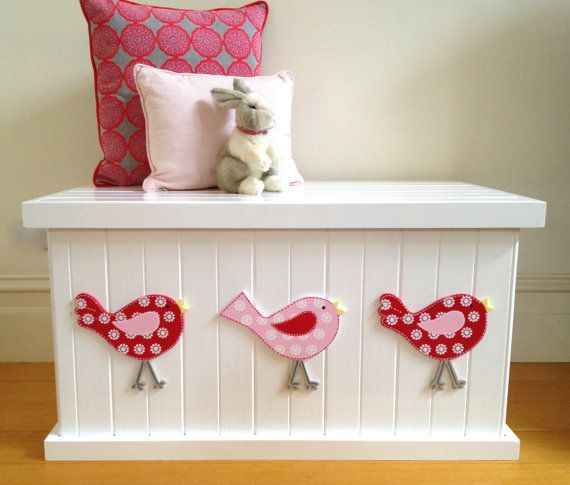 Toy Box Bird Cherry Red/Pink Girls Toy by littlebigdesignsshop
