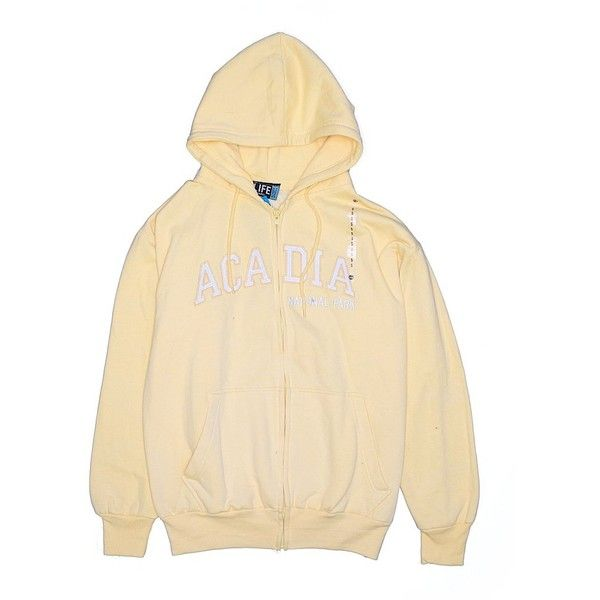 Authentic Life Apparel Zip Up Hoodie ($11) ❤ liked on Polyvore featuring tops, hoodies, yellow, cotton hoodies, yellow top, beige top, cotton hoodie and sweatshirt hoodies