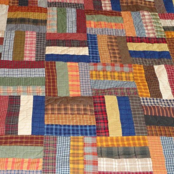 homespun plaid primitive king size quilt