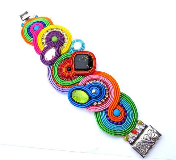 Colorful Soutache Bracelet with Zircons Beads and door IncrediblesTN, $99.00