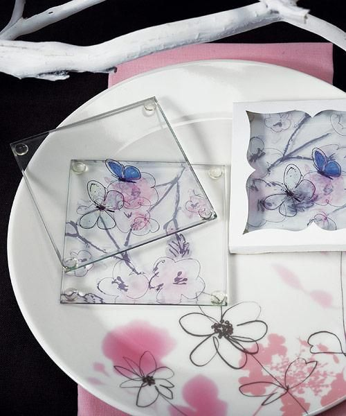 Buy The Artistic Botanical Butterfly Coaster Party Favors From Wedding Unlimited Today Volume Discounts Available