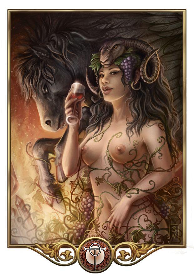 Rahja, Göttin der Liebe, nackt, mit Stute, grandioses Bild von GaiasAngel, Das Schwarze Auge, DSA,