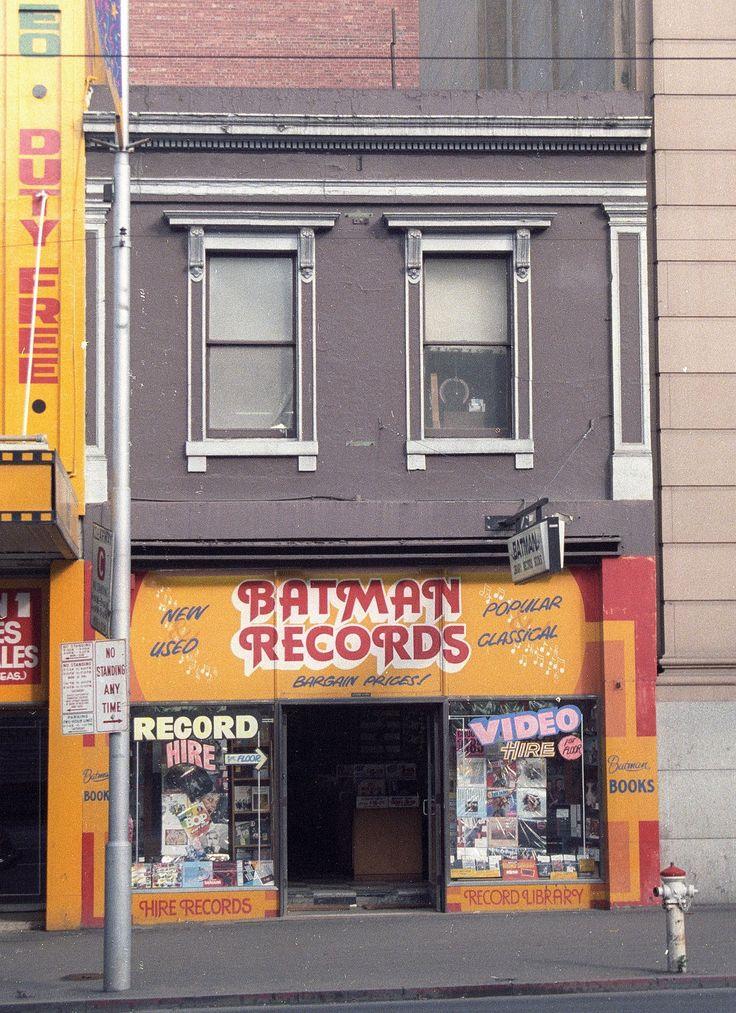 https://flic.kr/p/CmG9hr | Batman Records Swanston St, Melbourne 1985 | Built 1856 but not by John Batman. Melbourne Central Activities District (CAD) Conservation Study 1985 survey images: approx 1200 Kodak colour negatives