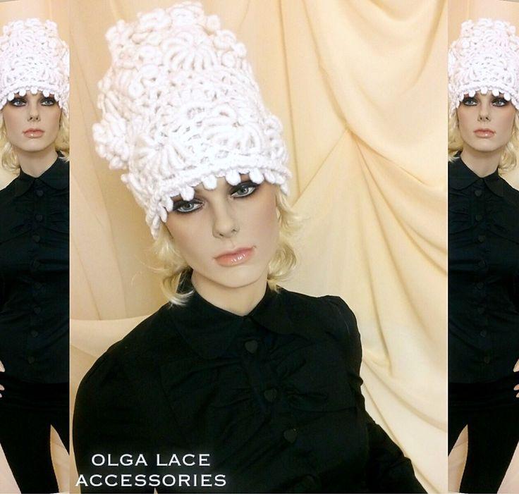 """Купить Вязаная шапка """"Рококо"""" от Olga Lace - вязаная шапка, белая шапка, рококо"""