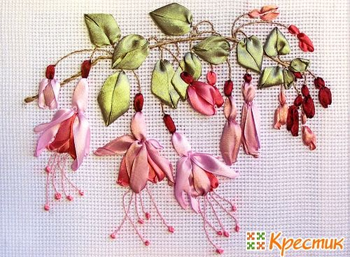 Cintas bordado masterclass Beautiful ribbon embroidery with pink flowers