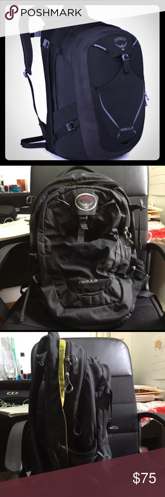 Osprey Nebula 34L Backpack Day Pack Great condition, slight imperfection on one shoulder strap  - Internal document sleeve  - Internal organisation pocket  - Internal key attachment clip  - Sternum strap with emergency whistle  - Side compression straps  - LED bike light attachment point  - Reflective graphics  - Grab handles - 34 liters of storage Osprey Bags Backpacks