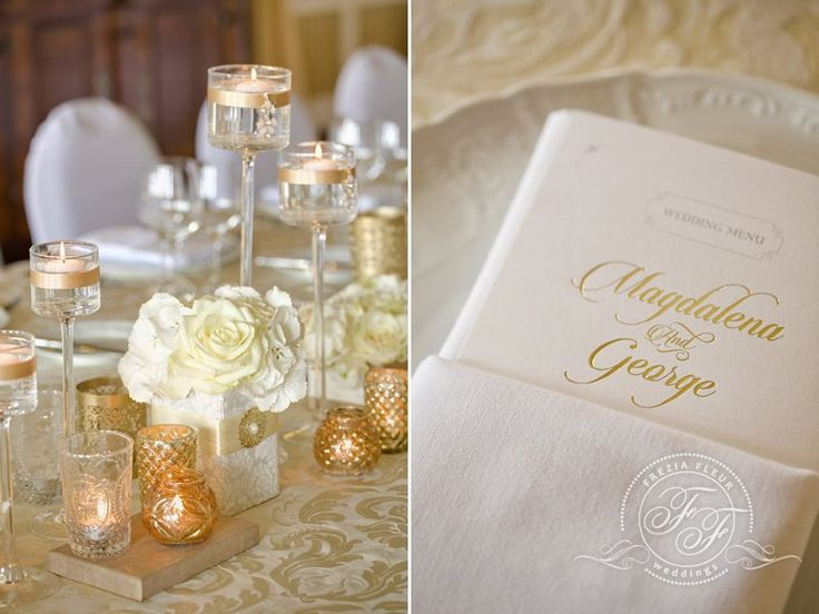 Luxury centerpiece on long table... small flower centerpieces with decorated candle holders and mercury candle holders. Also nice napkin with menu. Gold, white and cream color combination.