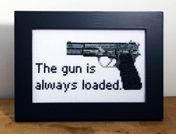 The gun is always loaded  Framed Cross Stitch by bombastitch, $51.00