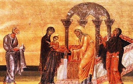 Intampinarea Domnului este praznuita la 40 de zile de la nasterea lui Hristos, pe 2 februarie. Mantuitorul este dus la Templu de Fecioara Maria si dreptul Iosif pentru implinirea Legii, care prevedea ca orice intai nascut de parte barbateasca sa fie afierosit lui Dumnezeu in a 40 a zi de la nastere.