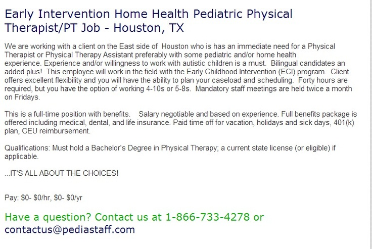 Early Intervention Home Health Pediatric Physical ...