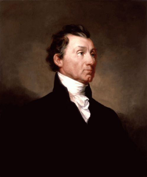 James Monroe (April 28, 1758 – July 4, 1831) 5th President of the United States, served two terms from 1817 to 1825. Monroe fought in the American Revolution and last of the Founding Fathers to serve as US president. He is most noted for his Monroe Doctrine, which told European powers the United States would not tolerate further European intervention in the Americas and threatened war if they did. He was the third president to die on the Fourth of July.