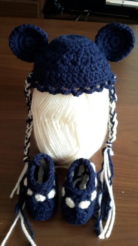New Born Hand made Bear ears hat with booties for only $35..