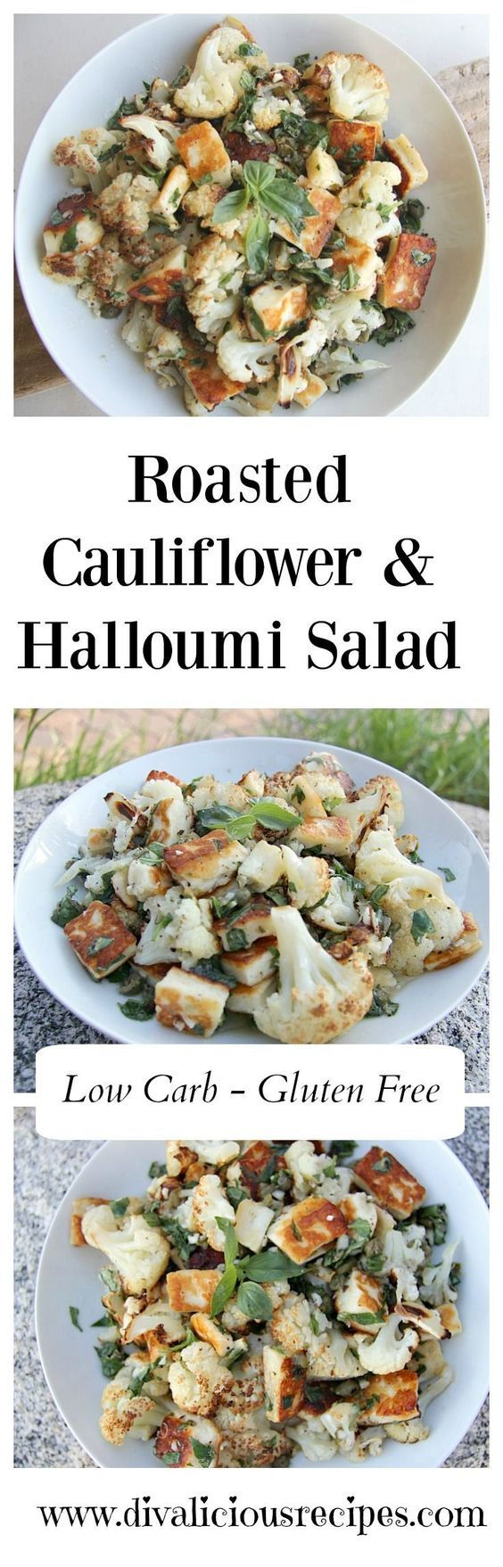 A roasted cauliflower halloumi salad recipe that adds the saltiness of Halloumi cheese in a citrus, basil and caper dressing. Recipe - http://divaliciousrecipes.com/2017/04/04/roasted-cauliflower-halloumi-salad/