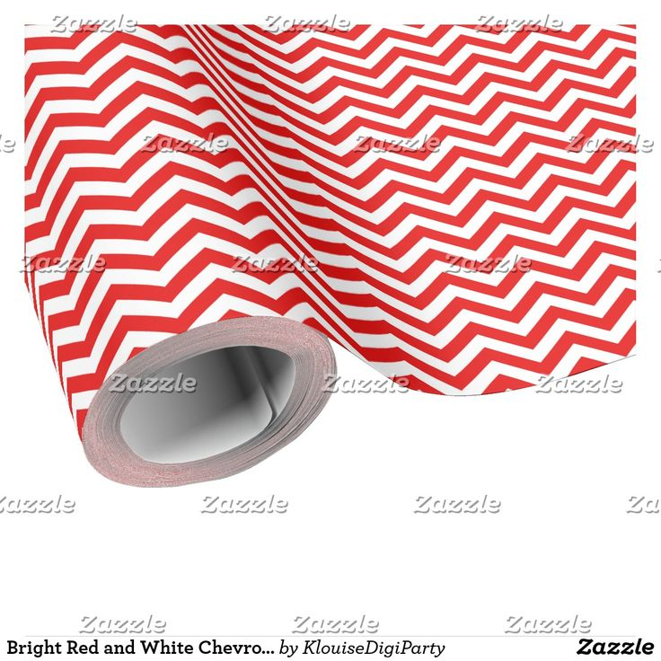 Bright Red and White Chevrons Wrapping Paper