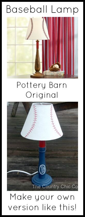 Turn a lamp into a knock off of the original baseball lamp from Pottery Barn! Fun for a kids room!