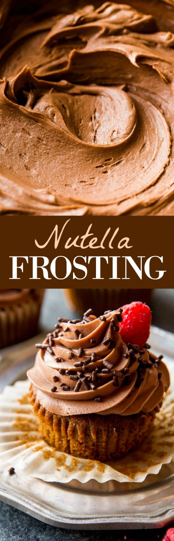The BEST nutella frosting. This stuff is so creamy, fluffy, and delicious! Recipe on sallysbakingaddiction.com