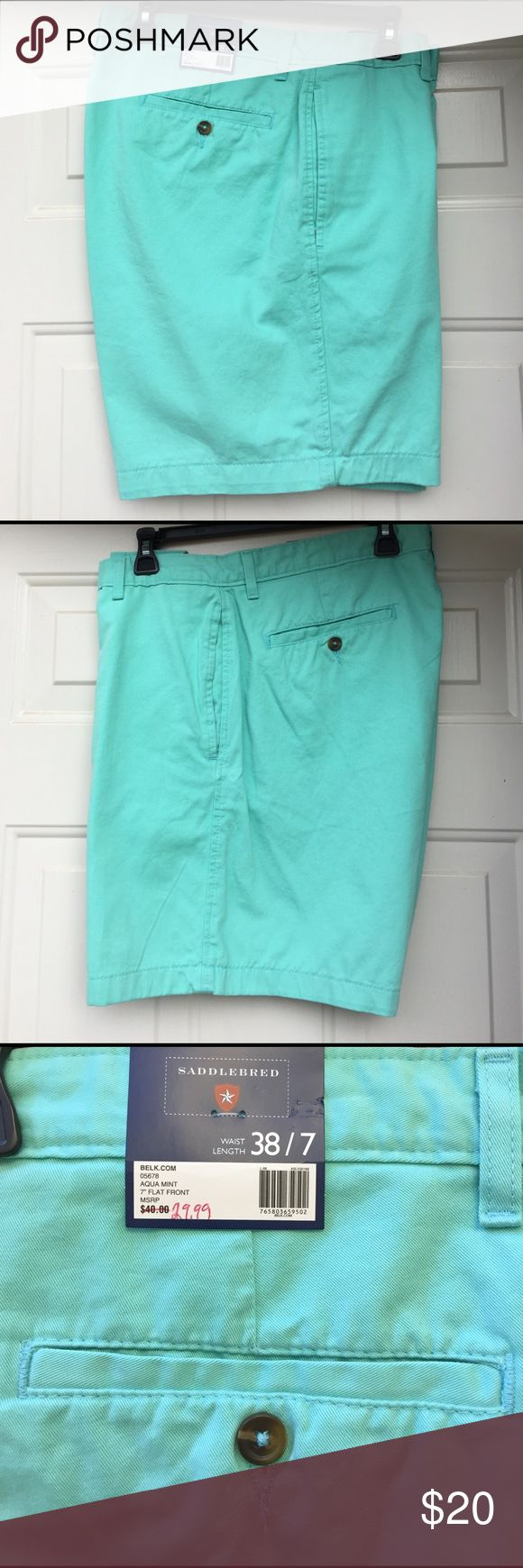 Men's Shorts 💚BRAND NEW💚 W/ Tags. Saddlebreed Shorts. Flat Front. 38x7, Aqua Mint, Two button pockets in back. Excellent Condition Just in time for Spring / Summer saddlebreed Shorts Flat Front